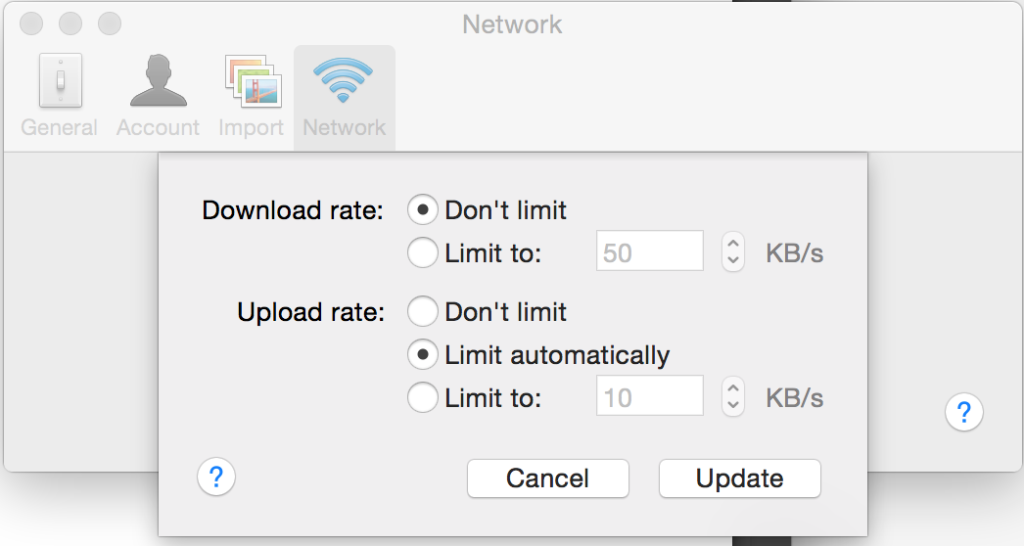 Dropbox Network Settings