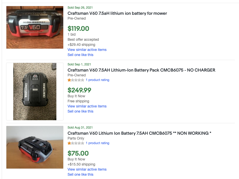 The 7.5AH V60 batteries are rarely available on eBay