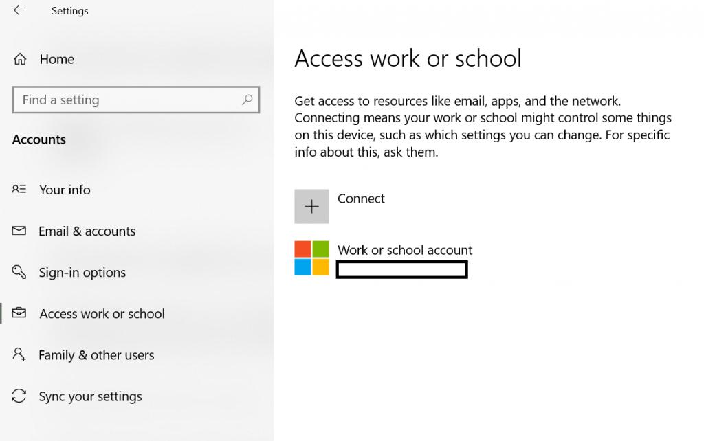 Settings -> Access work or school
